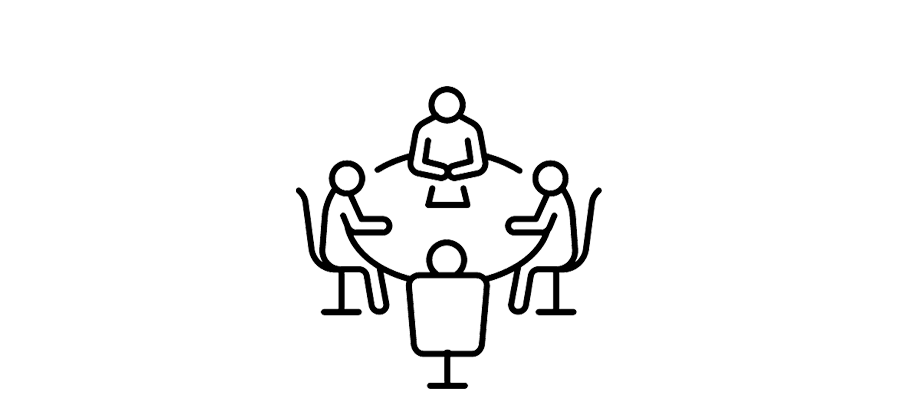 four people meeting around a table icon